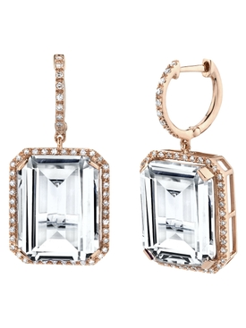 18K Rose Gold Portrait gemstone earrings