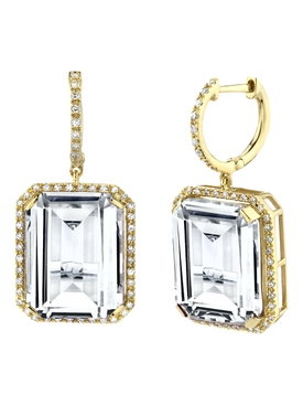 18K Yellow Gold Portrait gemstone earrings