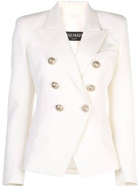 Classic Peaked Lapel Blazer WHITE
