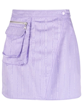 SURVIVAL CYCLING MOIRE MINI SKIRT LILAC
