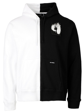 PATCHED ZIP SPLIT HOODIE BLACK AND WHITE