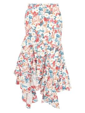 Asymmetric Floral Print Ruffle Skirt