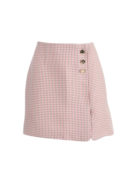 Gingham Print Mini Skirt MULTICOLOR