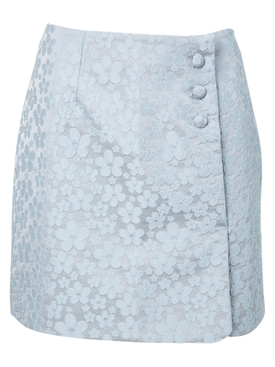 Gingham Print Mini Skirt ICY BLUE