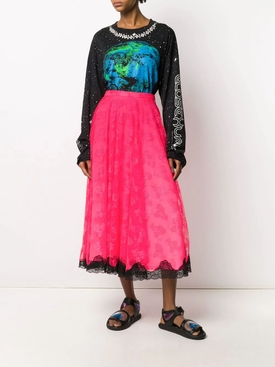 Neon Pink Lace Midi Skirt