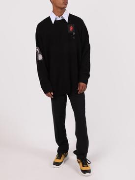 Oversized Patch Sweater, Black