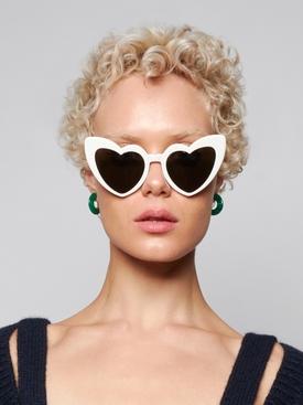 LouLou heart cat-eye sunglasses, ivory