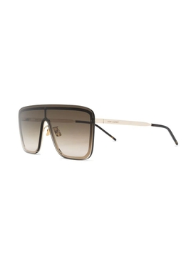 Brown and gold-tone shield sunglasses