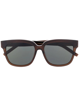 Brown Rectangular Logo Sunglasses