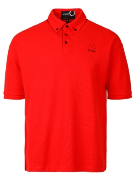 OVERSIZED BUTTON DOWN POLO RED