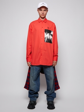 OVERSIZED PATCHED LONG SLEEVE SHIRT RED