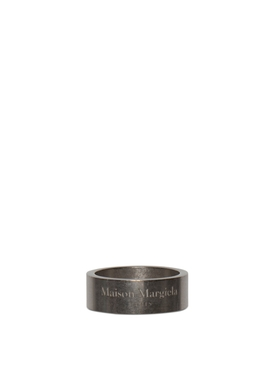 Semi Polished Text Logo Small Band Ring Palladio