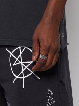 Semi Polished Text Logo Large Band Ring Palladio