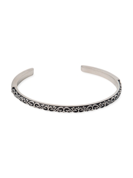 Semi-polished silver bangle