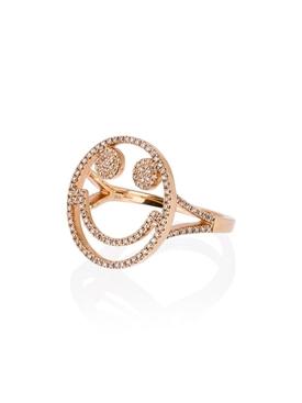 18K Rose Gold Smiley Face Ring