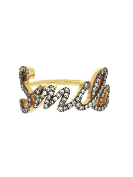 18K GOLD SMILE TEXT RING