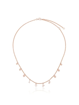 18K Rose Gold and Diamond Love Dangle Drop Choker Necklace