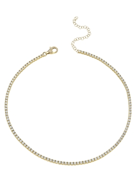 18K yellow gold Pavé Diamond Tennis Necklace
