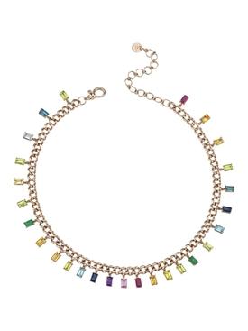Rainbow Baguette Gold Link Choker