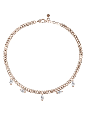 Pave Link Marquise Drop Necklace