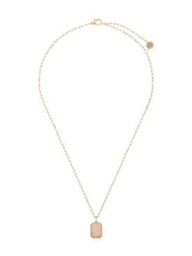 18K Rose Gold and Diamond Pave ID Pendant Necklace