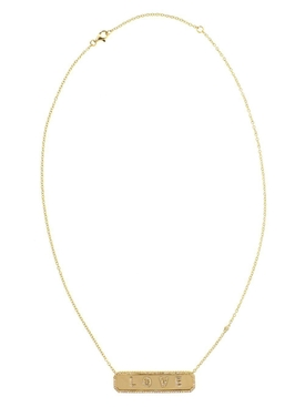 Gold horizontal Love nameplate necklace