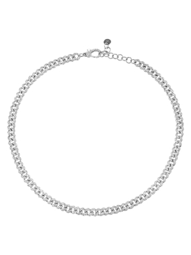 white gold diamond link choker necklace