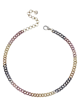 18k RAINBOW MINI PAVE DIAMOND LINK CHOKER NECKLACE