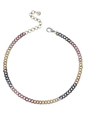18k RAINBOW MINI PAVE DIAMOND LINK CHOKER NECKLACE