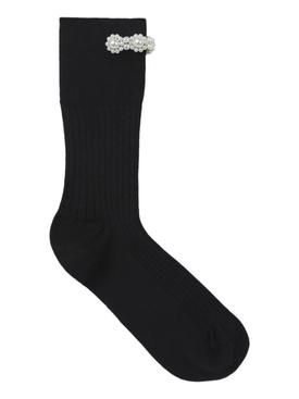 Faux pearl ankle socks BLACK/PEARL