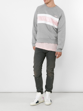Grey and Pink Crew-neck Sweatshirt