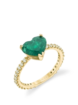 18k Gold Emerald Heart Pinky Ring