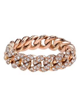 18k rose gold Mini pavé diamond link ring