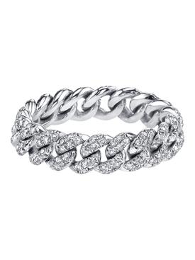 18K white gold Mini Pavé Link Ring