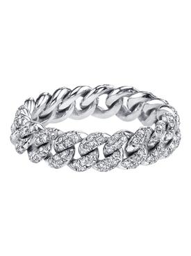 18k white gold Mini pavé diamond link ring