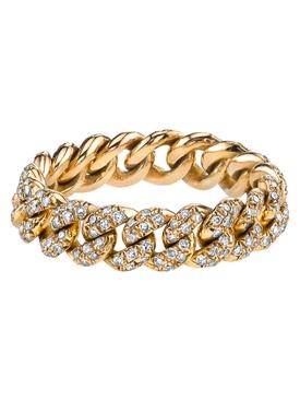 18k yellow gold Mini pavé diamond link ring