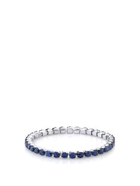 18K WHITE GOLD SINGLE BLUE SAPPHIRE THREAD RING