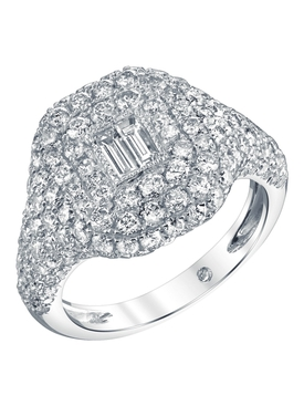 18K White gold pavé diamond baguette pinky ring