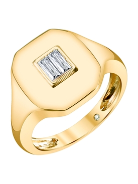 18K gold Baguette pinky diamond ring