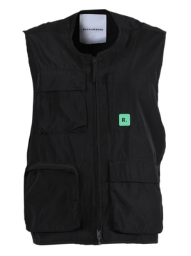Black Utility Zipped Vest