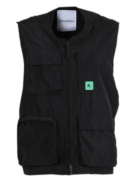 Black Utility Zipped Vest