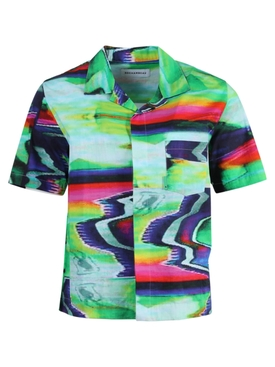 Multicolored Scramble Short Sleeve Button-Down Shirt