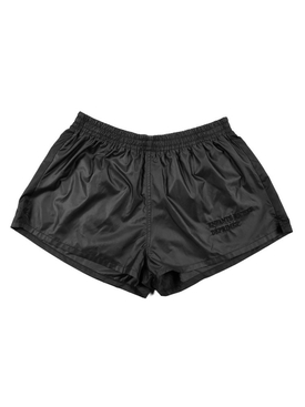 BLACK NYLON RUNNING SHORTS