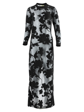 Sheer floral devore maxi dress black