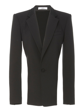 Black Crystal Trim Open Back Blazer
