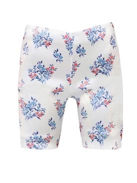 white floral print biker short
