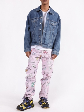 Pink multicolored comic jeans