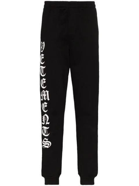 Gothic logo drawstring sweatpants BLACK