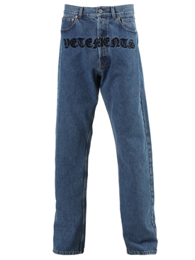 Gothic print logo jeans blue