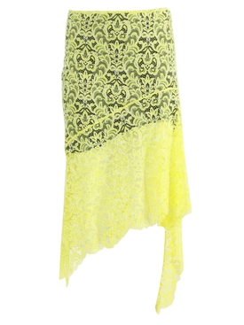 Marques'almeida - Yellow Asymmetric Lace Skirt - Women